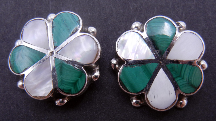 Zuni Malachite, White Mother of Pearl, and Sterling Silver Inlay Earrings