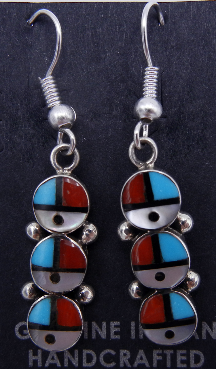 Zuni Multi-Stone Inlay and Sterling Silver Triple Sunface Earrings
