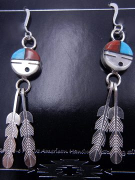 Zuni Multi-Stone Inlay Sunface and Sterling Silver Feather Dangle Earrings
