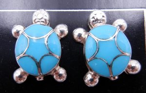 Zuni turquoise and sterling silver inlay turtle post earrings