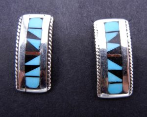 Zuni small multi-stone inlay and sterling silver bar earrings