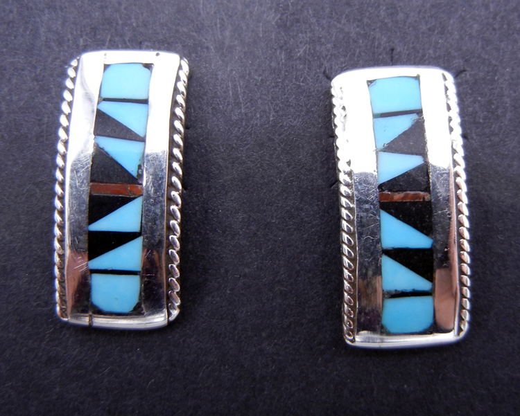 Zuni Multi-Stone Inlay and Sterling Silver Small Bar Earrings