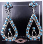 Zuni turquoise petit point and sterling silver tear drop dangle earrings