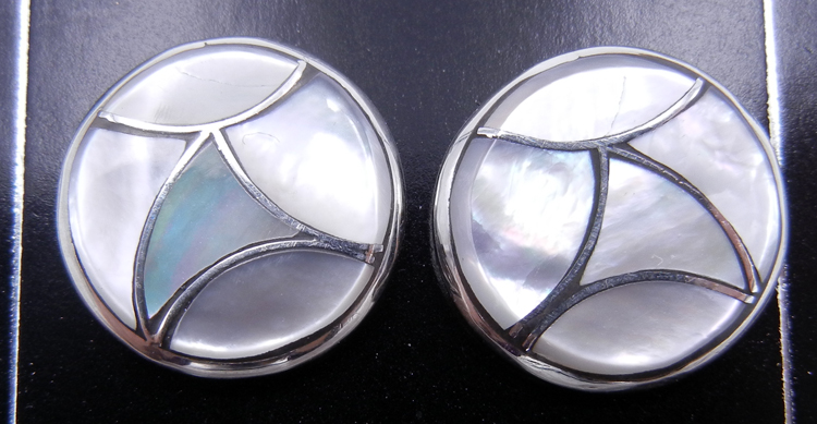 Zuni Orlinda Natewa White Mother of Pearl and Sterling Silver Inlay Earrings