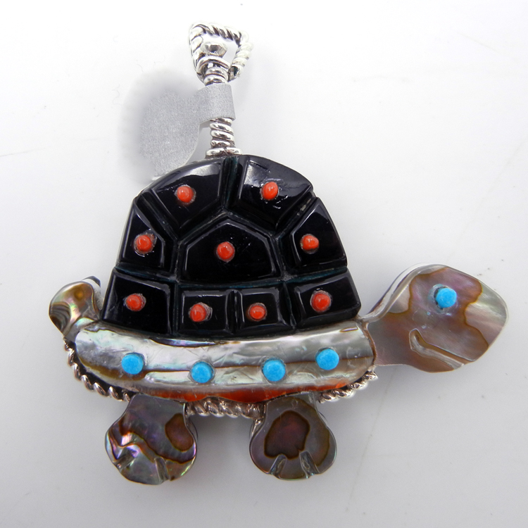Zuni Darrell Shebola Multi-Stone Inlay and Sterling Silver Double Sided Turtle Pendant