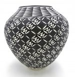 Acoma black and white handmade and hand painted large jar by Kathy Victorino