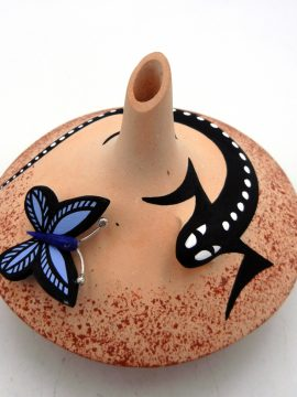 Zuni Yvonne Nashboo Small Lizard and Butterfly Accented Seed Vase