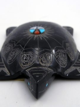Zuni Dilbert Gapser Black Marble Turtle Fetish with Inlaid Sunface