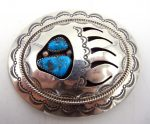 Navajo sterling silver and turquoise shadowbox style belt buckle
