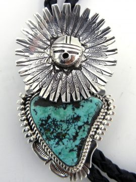 Navajo Bennie Ration Turquoise and Sterling Silver Sunface Bolo Tie