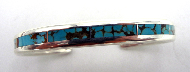 Navajo turquoise and sterling silver channel inlay cuff bracelet by Larry Loretto