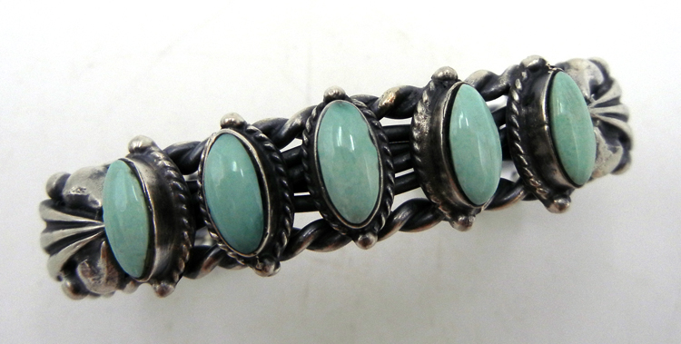 Navajo turquoise and brushed sterling silver rope pattern row cuff bracelet