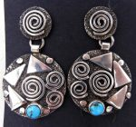 Navajo sterling silver and turquoise petroglyph style earrings by Alex Sanchez
