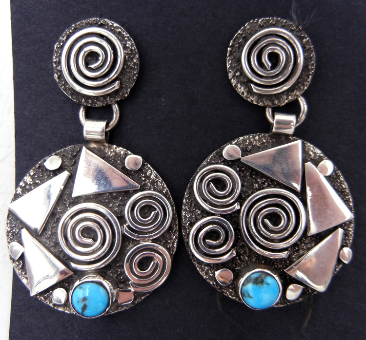 Navajo Alex Sanchez Sterling Silver and Turquoise Petroglyph Style Earrings