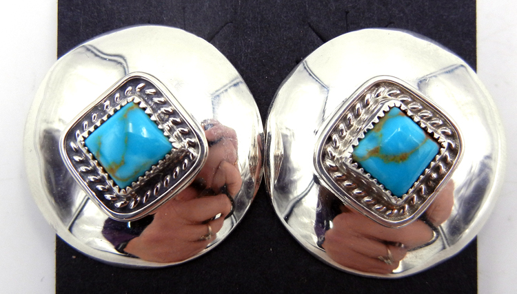 Navajo Small Turquoise and Sterling Silver Concho Style Earrings