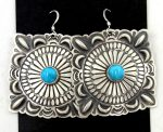 Navajo brushed sterling silver and turquoise concho style dangle earrings