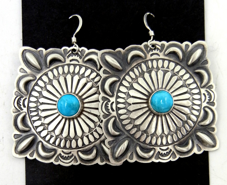 Navajo Large Brushed Sterling Silver and Turquoise Concho Style Dangle Earrings