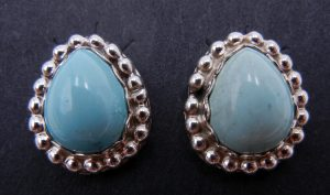 Navajo small turquoise and sterling silver earrings