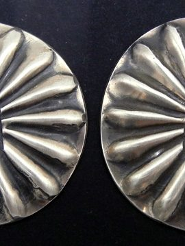 Navajo Vince Platero Hand Stamped Brushed Sterling Silver Concho Style Earrings