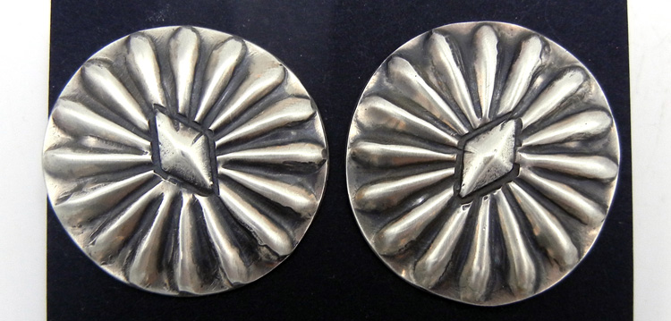 Navajo brushed sterling silver concho style earrings by Vince Platero
