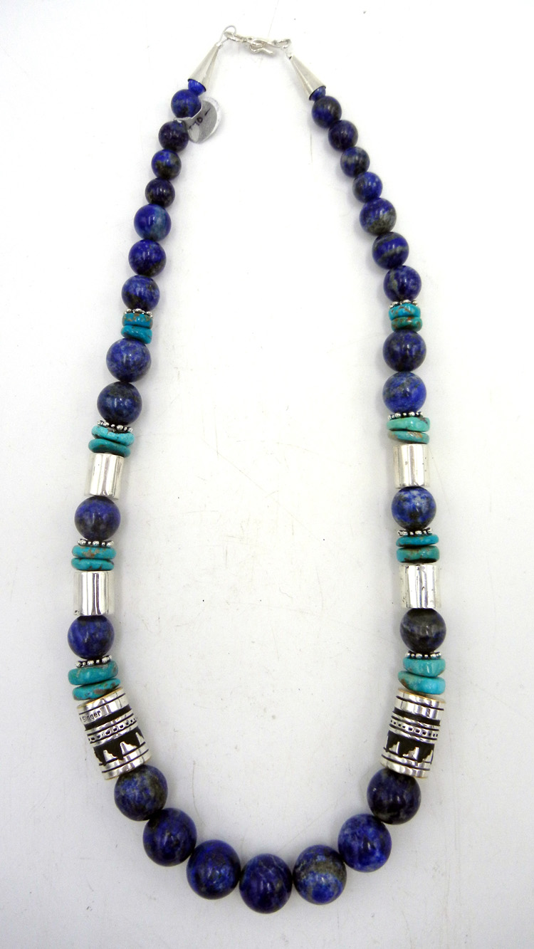 Navajo Rosita Singer Lapis Turquoise And Sterling Silver Overlay Necklace