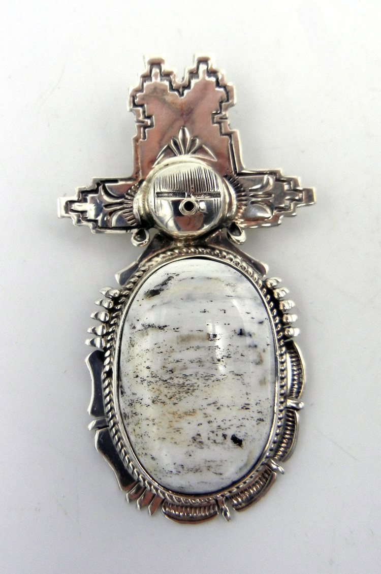 Navajo Bennie Ration White Buffalo and Sterling Silver Maiden Pendant