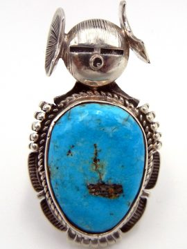 Navajo Bennie Ration Turquoise and Sterling Silver Maiden Ring
