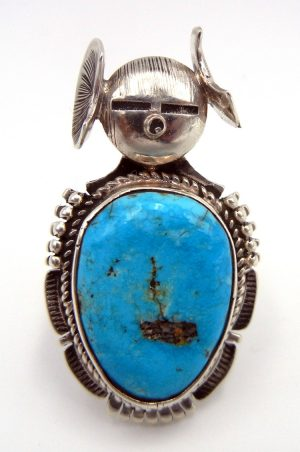 Navajo turquoise and sterling silver maiden ring by Bennie Ration