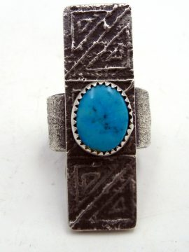 Navajo Tufa Cast Sterling Silver and Turquoise Ring