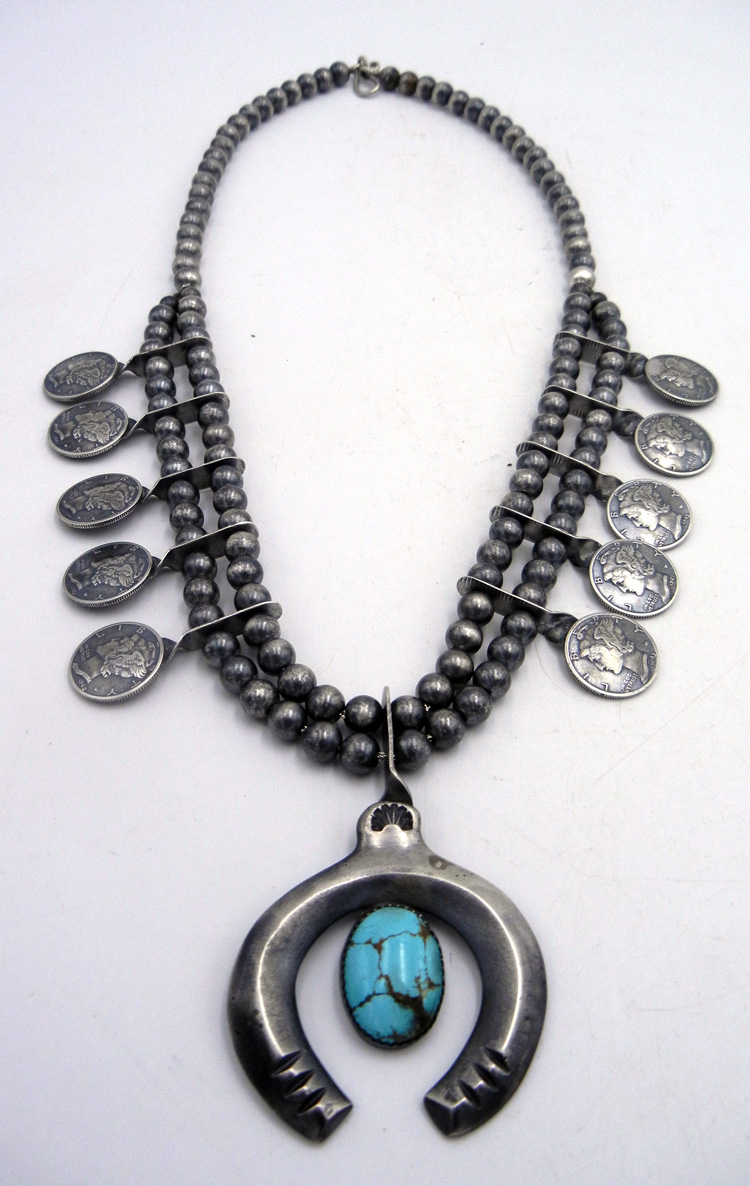Navajo Liberty Dime, Sterling Silver, and Turquoise Squash Blossom Necklace