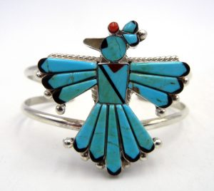 Zuni multi-stone inlay and sterling silver thunderbird cuff bracelet