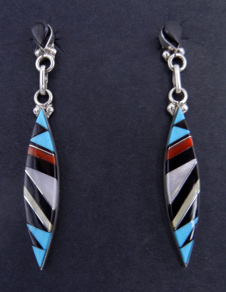 Zuni multi-stone inlay and sterling silver earrings