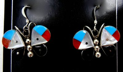 Zuni multi-stone inlay and sterling silver butterfly dangle earrings by Leavus Ahiyite