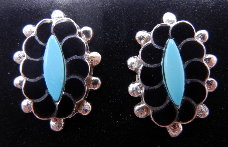 Zuni Small Turquoise, Jet and Sterling Silver Inlay Rosette Earrings