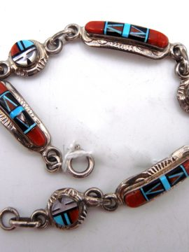 Zuni Raylan and Pattie Edaakie Multi-Stone Inlay and Sterling Silver Sunface Link Bracelet