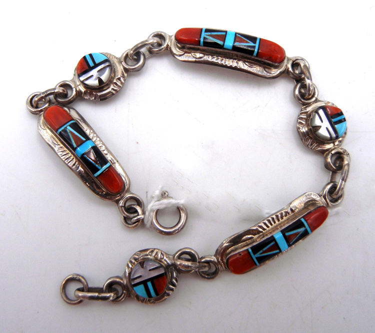 Zuni multi-stone inlay and sterling silver sunface link bracelet by Raylan and Pattie Edaakie