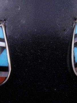 Zuni Small Multi-Stone Inlay Tear Drop Post Earrings