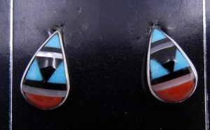 Zuni small multi-stone inlay and sterling silver earrings