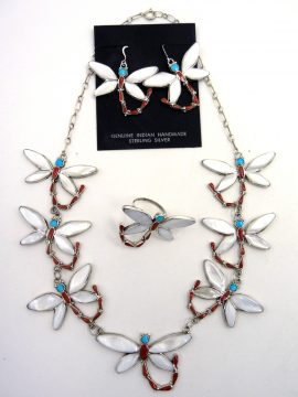 Zuni Angus Ahiyite Multi-Stone Inlay and Sterling Silver Dragonfly Necklace, Earring, and Ring Set