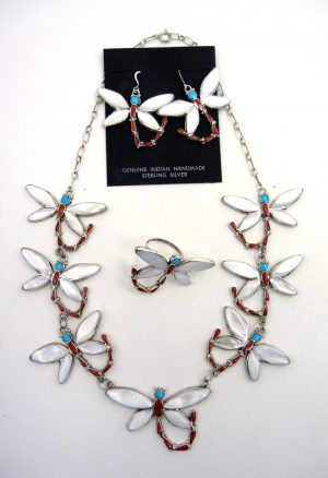 Zuni multi-stone inlay and sterling silver dragonfly necklace, earring, and ring set by Angus Ahiyite