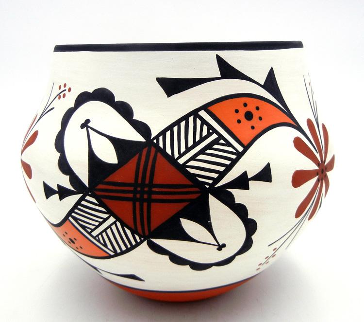 Acoma David Antonio Handmade and Hand Painted Polychrome Parrot Design Jar