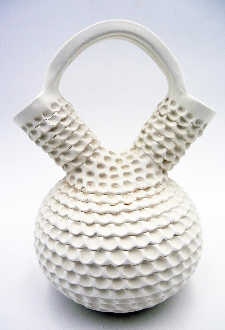 Acoma Jackie Shutiva Handmade White Corrugated Wedding Vase