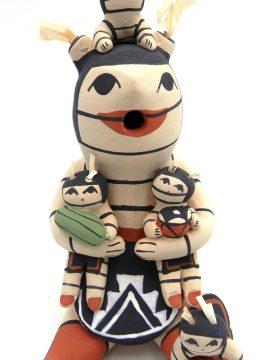 Jemez Marie Toya Koshare Storyteller Figurine with Four Children