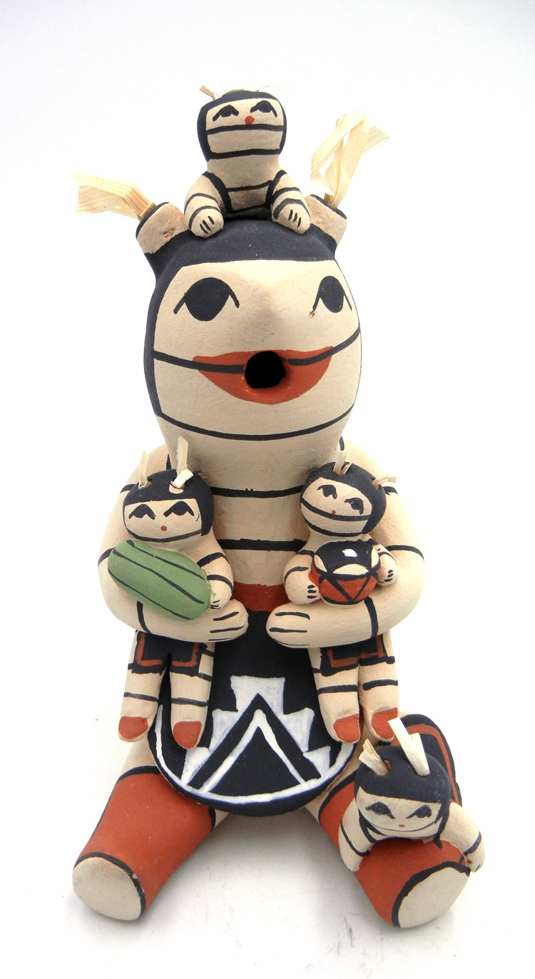 Jemez seated koshare storyteller figurine with four children by Marie Toya