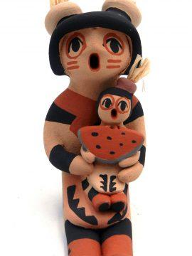 Jemez Chrislyn Fragua Small Koshare Storyteller with One Child