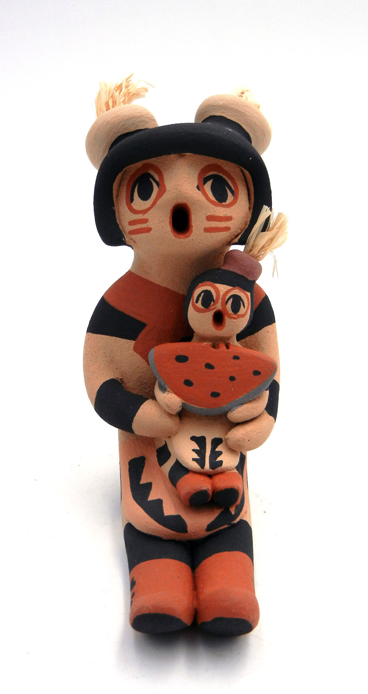 Jemez Koshare Storyteller figurine with one child by Chrislyn Fragua