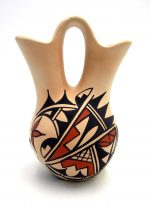Jemez traditional buff polished and painted wedding vase by Dolores Toya