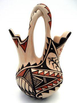 Jemez Juanita Fragua Handmade and Hand Painted Buff Wedding Vase with Twisted Handle