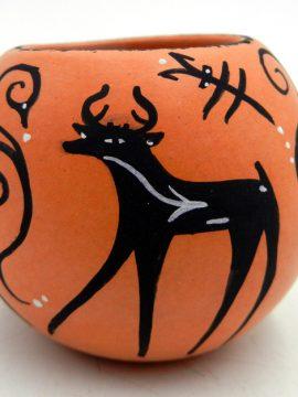 Zuni Anderson and Priscilla Peynetsa Small Deer with Heartline Bowl