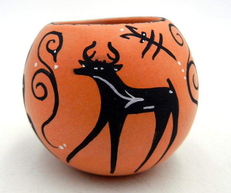 Zuni small deer with heartline bowl by Anderson and Priscilla Peynetsa